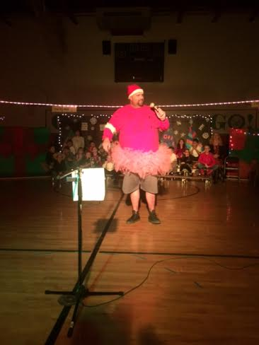 Kevin Crosson as Santa Bob in the Gardner School Christmas Program.