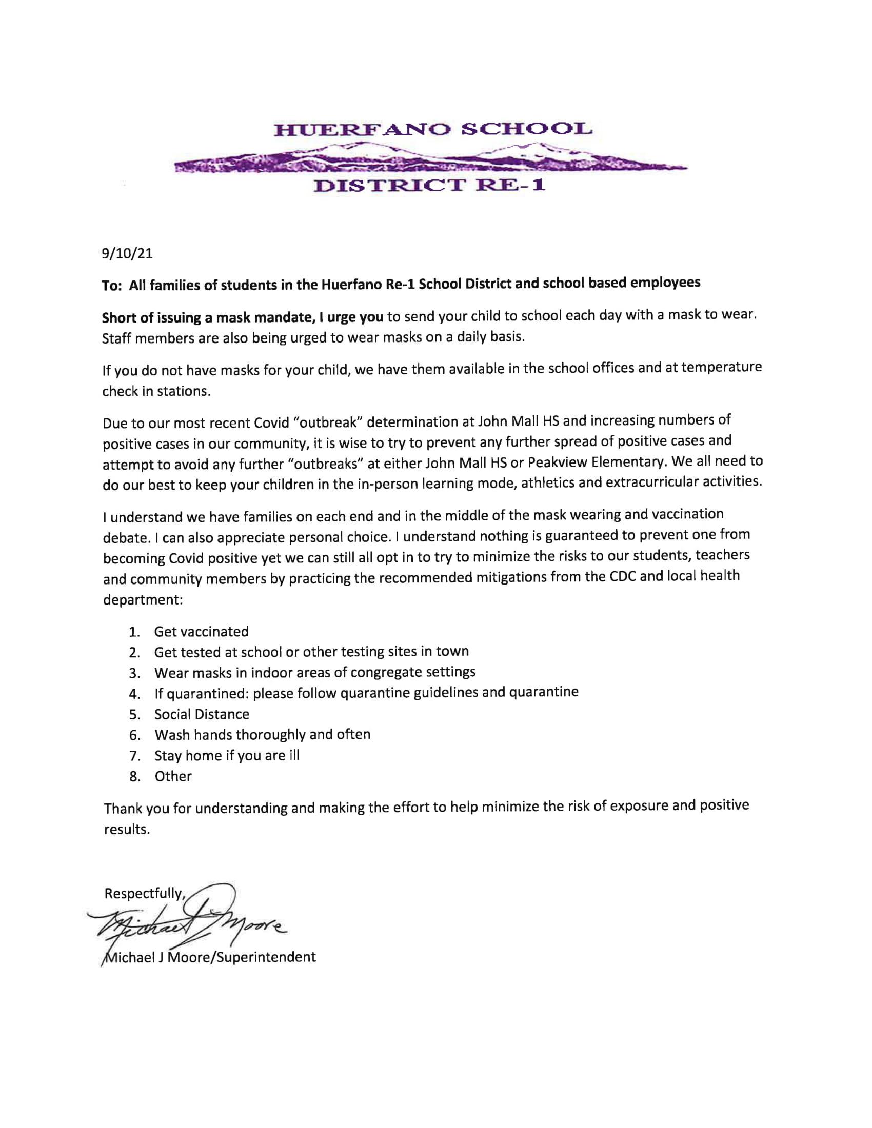 Mask Recommendation Update Letter - 9/10/2021