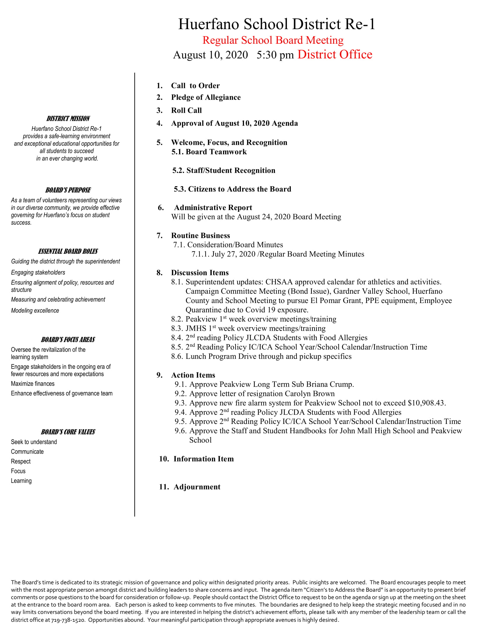 8-10-2020 Regular Board Meeting Agenda