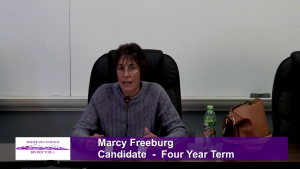 Marcy Freeburg - School Board Candidate - Four Year Term Interview Video